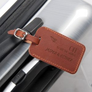 etiqueta de maleta de piel