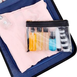 Set de botellas de viaje y estuche transparente